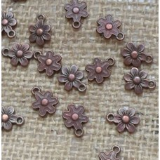 Red Copper Charms ~ Tiny Flowers x 10