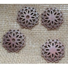 Red Copper Charms ~ Large Flower