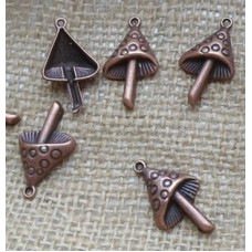 Red Copper Charms ~ Mushroom
