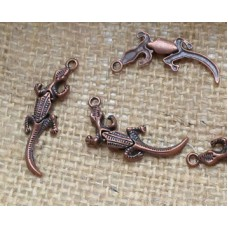 Red Copper Charms ~  Gecko